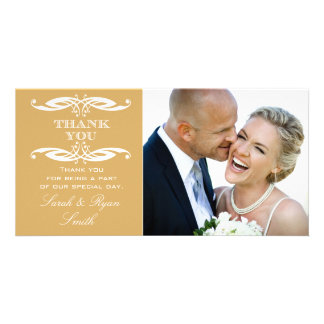 Vintage Swirl Gold Wedding Photo Thank You Personalized Photo Card