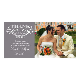 Vintage Swirl Grey Wedding Photo Thank You Cards Photo Card Template