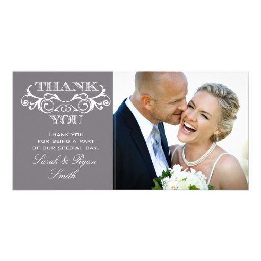 Vintage Swirl Grey Wedding Photo Thank You Cards Personalized Photo Card