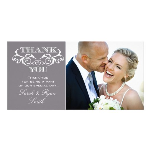 Vintage Swirl Grey Wedding Photo Thank You Cards Photo Greeting Card