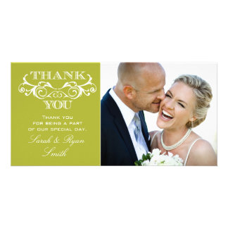 Vintage Swirl Lime Wedding Photo Thank You Cards Personalised Photo Card