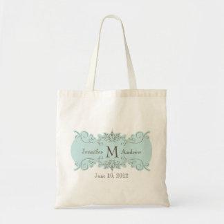 Vintage Swirl Monogram Names Date Wedding Tote Bag