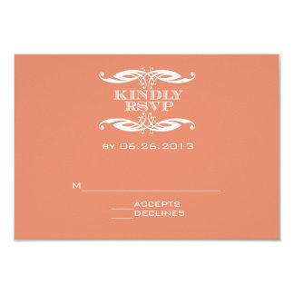 Vintage Swirl Orange Wedding RSVP Card