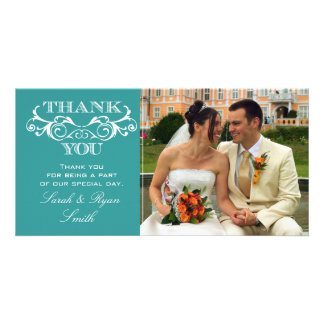 Vintage Swirl Turquoise Wedding Photo Thank You Personalized Photo Card