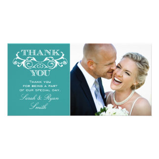 Vintage Swirl Turquoise Wedding Photo Thank You Picture Card