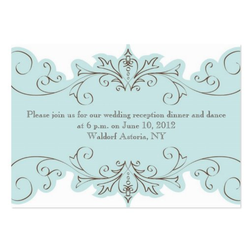 Vintage Swirl Wedding Reception Cards Business Card