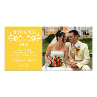 Vintage Swirl Yellow Wedding Photo Thank You Cards Personalised Photo Card