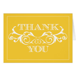 Vintage Swirl Yellow Wedding Thank You Cards