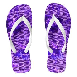 Vintage Swirls Floral Amethyst Purple Thongs