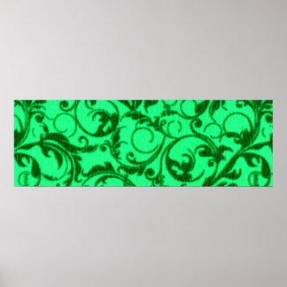 Vintage Swirls Green Poster