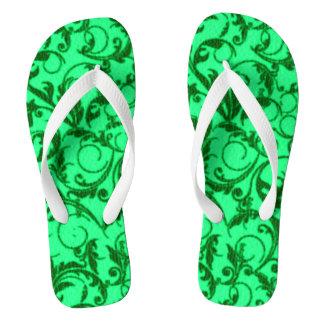 Vintage Swirls Green Thongs