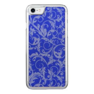 Vintage Swirls Sapphire Blue Carved iPhone 8/7 Case