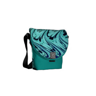Vintage Swirls Teal Blue Green Silver Waves Messenger Bags