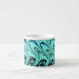 Vintage Swirls Teal Blue Green Silver Waves Espresso Mugs