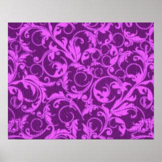 Vintage Swirls Winterberry Orchid Purple Poster