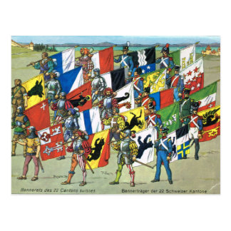 Vintage Swiss Cantonial Flags on parade Postcard