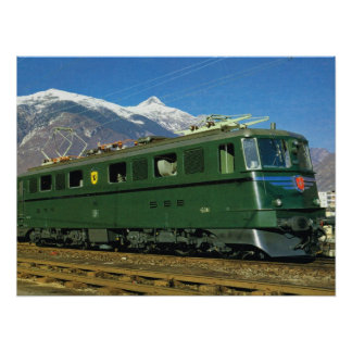 Vintage Swiss Locomotive Poster
