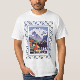 Vintage Swiss Railway Poster Interlaken T-Shirt