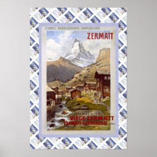 Vintage Swiss Railway Poster Zermatt