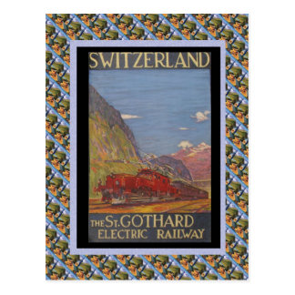 Vintage Swiss Railway St Gotthard electric Postcard