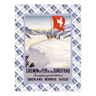 Vintage Swiss Raulway Jungfrau Jungfraujoch Postcard