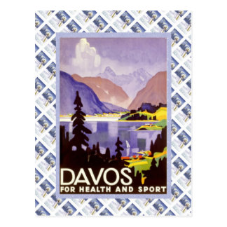 Vintage Swiss Raulway Poster, Davos for health and Postcard