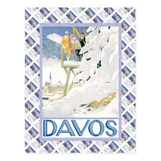 Vintage Swiss Raulway Poster, Davos Postcard