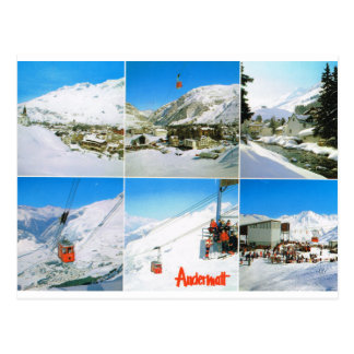 Vintage SwiTzerland, Andermatt Skiing, Ski lift Postcard