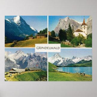 Vintage Switzerland, Grindelwald, Jungfrau region Poster