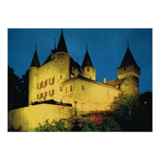 Vintage Switzerland, Nyon, medieval castle Poster