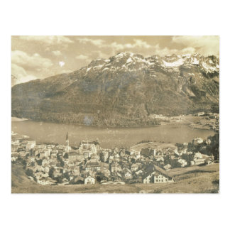 Vintage Switzerland, St Moritz and lake 1906 Postcard