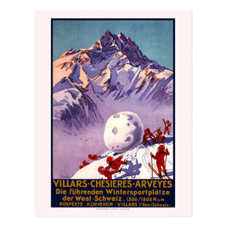 Vintage Switzerland Travel Ski Postcard