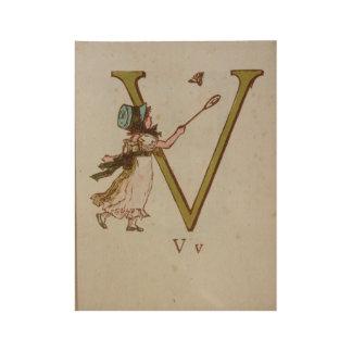 vintage T-shirt childrens fairy V alphabet card Wood Poster