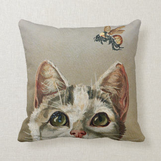 Vintage Tabby Cat and Bee Throw Pillow