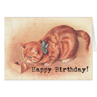 Vintage Tabby Kitty Birthday Card