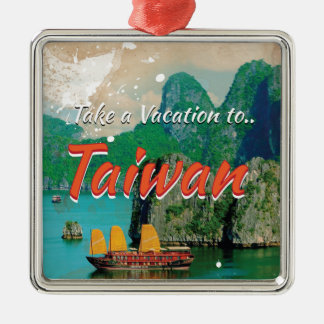 Vintage Taiwan Travel Poster Metal Ornament