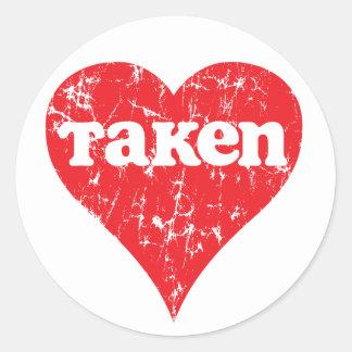 Vintage Taken Valentine s Day Heart Round Stickers