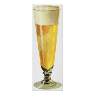 Vintage Tall Frosty Draft Beer, Alcohol Beverage Poster