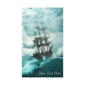 Vintage Tall Ship on Turbulent Sea Canvas Print