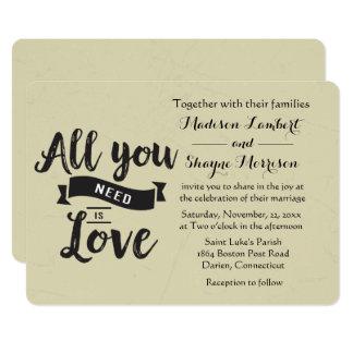 Vintage Tan And Black Wedding Love Quote Invitatio Card