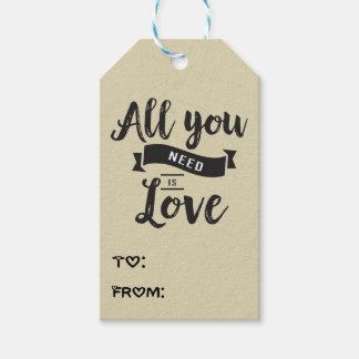 Vintage Tan & Black Love Wedding, Bridal Shower Gift Tags