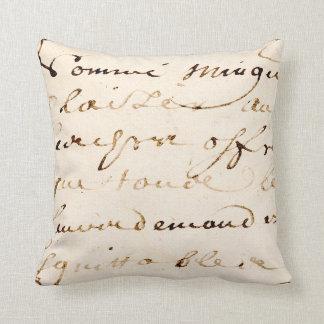 Vintage Tan French Letter Script Parchment Cushion