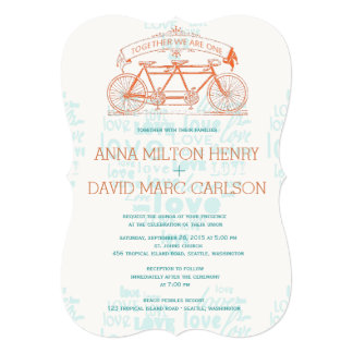 Vintage Tandem Bicycle Hearts Typography Wedding 13 Cm X 18 Cm Invitation Card