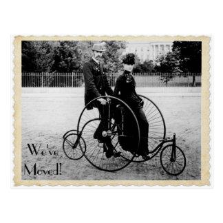 Vintage Tandem Bicycle Moving Postcard
