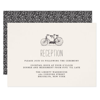 Vintage Tandem Bicycle Wedding Reception Card