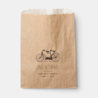 Vintage Tandem Bicycle Wedding Thank You Favour Bag