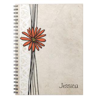 Vintage Tangerine Orange Daisy Spiral Notebook