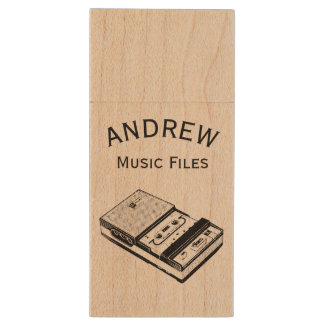 Vintage Tape recorder personalized Music Files USB Wood USB 2.0 Flash Drive