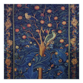Vintage Tapestry Birds Floral Design Woodpecker