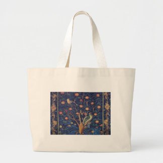Vintage Tapestry Birds Floral Design Woodpecker Large Tote Bag